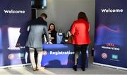 1 March 2019; Guests register prior to the UEFA Masterclass in partnership with the Federation of Irish Sport at the Aviva Stadium in Dublin. Photo by Seb Daly/Sportsfile