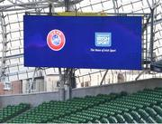 1 March 2019; A general view of the stadium scoreboard during the UEFA Masterclass in partnership with the Federation of Irish Sport at the Aviva Stadium in Dublin. Photo by Seb Daly/Sportsfile