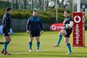 1 March 2019; Jacob Stockdale, left, Cian Healy and Tadhg Furlong showing their skills with a football during a Ireland Rugby squad open training session at Queen's University in Belfast, Antrim. Photo by Oliver McVeigh/Sportsfile