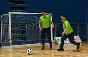 1 March 2019; Former Republic of Ireland international Niall Quinn and Omer Teko during a training session with Special Olympics Team Ireland at the Sport Ireland National Indoor Arena in Blanchardstown, Dublin, ahead of their departure to the Special Olympic World Games 2019 in Abu Dhabi. Photo by Ramsey Cardy/Sportsfile