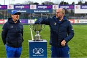 1 March 2019; Emmet Farrell, Leinster kicking coach and head analyst, right, and Simon Broughton, Leinster elite player development officer, during the Bank of Ireland Leinster Junior Schools Semi-Final draw at Energia Park in Donnybrook, Dublin. Photo by Piaras Ó Mídheach/Sportsfile