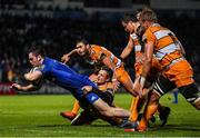 1 March 2019; Conor O'Brien of Leinster scores his side's first try during the Guinness PRO14 Round 17 match between Leinster and Toyota Cheetahs at the RDS Arena in Dublin. Photo by Brendan Moran/Sportsfile