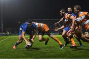 1 March 2019; Adam Byrne of Leinster scores his side's second try during the Guinness PRO14 Round 17 match between Leinster and Toyota Cheetahs at the RDS Arena in Dublin. Photo by Ramsey Cardy/Sportsfile