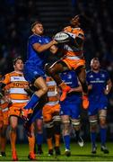 1 March 2019; Rabz Maxwane of Toyota Cheetahs and Adam Byrne of Leinster contest a high ball during the Guinness PRO14 Round 17 match between Leinster and Toyota Cheetahs at the RDS Arena in Dublin. Photo by Ramsey Cardy/Sportsfile