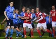1 March 2019; St Patrick's Athletic players, from left, Rhys McCabe, Ian Bermingham, and Chris Forrester await a free kick during the SSE Airtricity League Premier Division match between UCD and St Patrick's Athletic at the UCD Bowl in Belfield, Dublin. Photo by Piaras Ó Mídheach/Sportsfile
