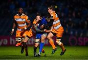 1 March 2019; Max Deegan of Leinster is tackled by Tian Meyer, left, and Walt Steenkamp of Toyota Cheetahs and during the Guinness PRO14 Round 17 match between Leinster and Toyota Cheetahs at the RDS Arena in Dublin. Photo by Ramsey Cardy/Sportsfile