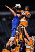 1 March 2019; Abongile Nonkontwana of Toyota Cheetahs wins possession in a lineout ahead of Ross Molony of Leinster during the Guinness PRO14 Round 17 match between Leinster and Toyota Cheetahs at the RDS Arena in Dublin. Photo by Brendan Moran/Sportsfile
