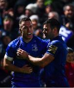 1 March 2019; Rory O'Loughlin of Leinster celebrates with team-mate Fergus McFadden after scoring his side's third try during the Guinness PRO14 Round 17 match between Leinster and Toyota Cheetahs at the RDS Arena in Dublin. Photo by Ramsey Cardy/Sportsfile