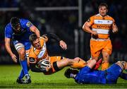 1 March 2019; Tian Schoeman of Toyota Cheetahs is tackled by Caelan Doris and Max Deegan of Leinster during the Guinness PRO14 Round 17 match between Leinster and Toyota Cheetahs at the RDS Arena in Dublin. Photo by Ramsey Cardy/Sportsfile