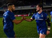 1 March 2019; Leinster team-mates Adam Byrne, left and Andrew Porter after the Guinness PRO14 Round 17 match between Leinster and Toyota Cheetahs at the RDS Arena in Dublin. Photo by Ramsey Cardy/Sportsfile