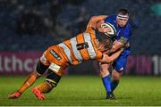 1 March 2019; Bryan Byrne of Leinster is tackled by Gerhard Olivier of Toyota Cheetahs during the Guinness PRO14 Round 17 match between Leinster and Toyota Cheetahs at the RDS Arena in Dublin. Photo by Brendan Moran/Sportsfile