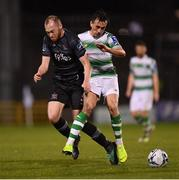 1 March 2019; Chris Shields of Dundalk in action against Aaron McEneff of Shamrock Rovers during the SSE Airtricity League Premier Division match between Shamrock Rovers and Dundalk at Tallaght Stadium in Dublin. Photo by Seb Daly/Sportsfile