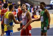 2 March 2019; Joseph Ojewumi, right, of Ireland congratulates his competitors following the Men's 60m heat during day two of the European Indoor Athletics Championships at Emirates Arena in Glasgow, Scotland. Photo by Sam Barnes/Sportsfile
