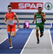 2 March 2019; Joseph Ojewumi of Ireland, right, and Daniel Ambros of Spain competing in the Men's 60m heat during day two of the European Indoor Athletics Championships at Emirates Arena in Glasgow, Scotland. Photo by Sam Barnes/Sportsfile