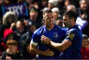 1 March 2019; Rory O'Loughlin, left, celebrates with Leinster teammate Fergus McFadden after scoring a try during the Guinness PRO14 Round 17 match between Leinster and Toyota Cheetahs at the RDS Arena in Dublin. Photo by Ramsey Cardy/Sportsfile