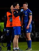 1 March 2019; Rory O'Loughlin of Leinster receives treatment for an injury by Leinster academy physiotherapist Darragh Curley and Leinster team doctor Dr. Jim McShane during the Guinness PRO14 Round 17 match between Leinster and Toyota Cheetahs at the RDS Arena in Dublin. Photo by Ramsey Cardy/Sportsfile