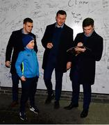 1 March 2019; Leinster players Luke McGrath, Nick McCarthy and Will Connors with supporters in autograph alley prior to the Guinness PRO14 Round 17 match between Leinster and Toyota Cheetahs at the RDS Arena in Dublin. Photo by Ramsey Cardy/Sportsfile