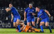 1 March 2019; Dave Kearney of Leinster is tackled by Louis Fouche of Toyota Cheetahs during the Guinness PRO14 Round 17 match between Leinster and Toyota Cheetahs at the RDS Arena in Dublin. Photo by Brendan Moran/Sportsfile