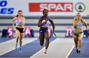2 March 2019; Kirstal Awuah of Great Britain, centre, and Molly Scott of Ireland, right, competing in the Women's 60m heats during day two of the European Indoor Athletics Championships at Emirates Arena in Glasgow, Scotland. Photo by Sam Barnes/Sportsfile