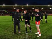 2 March 2019; Referee Padraig Hughes with captains Raymond Galligan of Cavan and Matthew Donnelly of Tyrone prior to the Allianz Football League Division 1 Round 5 match between Tyrone and Cavan at Healy Park in Omagh, Tyrone. Photo by Seb Daly/Sportsfile