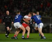 2 March 2019; Peter Harte of Tyrone in action against Padraig Faulkner, left, and Dara McVeety of Cavan during the Allianz Football League Division 1 Round 5 match between Tyrone and Cavan at Healy Park in Omagh, Tyrone. Photo by Seb Daly/Sportsfile