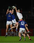 2 March 2019; Conor Rehill of Cavan, centre, in action against Tiernan McCann of Tyrone during the Allianz Football League Division 1 Round 5 match between Tyrone and Cavan at Healy Park in Omagh, Tyrone. Photo by Seb Daly/Sportsfile