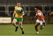 2 March 2019; Eoghan Ban Gallagher of Donegal in action against Jemar Hall of Armagh during the Allianz Football League Division 2 Round 5 match between Donegal and Armagh at MacCumhail Park in Ballybofey, Donegal. Photo by Oliver McVeigh/Sportsfile