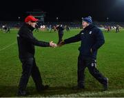 2 March 2019; Tyrone manager Mickey Harte, left, and Cavan manager Mickey Graham shake hands following the Allianz Football League Division 1 Round 5 match between Tyrone and Cavan at Healy Park in Omagh, Tyrone. Photo by Seb Daly/Sportsfile