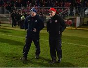 2 March 2019; Cavan manager Mickey Graham, left, and Tyrone manager Mickey Harte inconversation following the Allianz Football League Division 1 Round 5 match between Tyrone and Cavan at Healy Park in Omagh, Tyrone. Photo by Seb Daly/Sportsfile