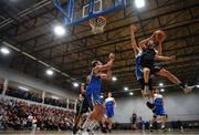 2 March 2019; Eoin Quigley of Garvey's Tralee Warriors goes up for a basket despite the attention of Sean Seller of Maree during the Basketball Ireland Men's Superleague match between Garvey's Tralee Warriors and Maree at the Tralee Sports Complex in Tralee, Co. Kerry. Photo by Brendan Moran/Sportsfile
