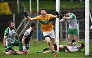 3 March 2019; Shane Quinn of Leitrim celebrates after scoring his side's first goal  during the Allianz Football League Division 4 Round 5 match between Leitrim and London at Avantcard Páirc Seán Mac Diarmada in Carrick-on-Shannon, Co. Leitrim. Photo by Oliver McVeigh/Sportsfile