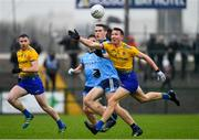 3 March 2019; Tadgh O'Rourke of Roscommon in action against Brian Fenton of Dublin during the Allianz Football League Division 1 Round 5 match between Roscommon and Dublin at Dr Hyde Park in Roscommon. Photo by Ramsey Cardy/Sportsfile