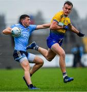 3 March 2019; Colm Basquel of Dublin in action against Enda Smith of Roscommon during the Allianz Football League Division 1 Round 5 match between Roscommon and Dublin at Dr Hyde Park in Roscommon. Photo by Ramsey Cardy/Sportsfile