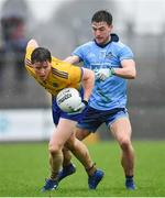 3 March 2019; Gary Patterson of Roscommon in action against Andrew McGowan of Dublin during the Allianz Football League Division 1 Round 5 match between Roscommon and Dublin at Dr Hyde Park in Roscommon. Photo by Ramsey Cardy/Sportsfile