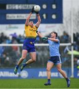 3 March 2019; Cathal Cregg of Roscommon in action against Andrew McGowan of Dublin during the Allianz Football League Division 1 Round 5 match between Roscommon and Dublin at Dr Hyde Park in Roscommon. Photo by Ramsey Cardy/Sportsfile