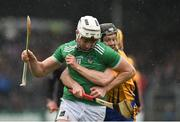 3 March 2019; Kyle Hayes of Limerick in action against Jack Browne of Clare during the Allianz Hurling League Division 1A Round 5 match between Clare and Limerick at Cusack Park in Ennis, Clare. Photo by Diarmuid Greene/Sportsfile