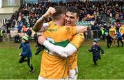 3 March 2019; Damien Moran and Shane Quinn of Leitrim celebrates after the Allianz Football League Division 4 Round 5 match between Leitrim and London at Avantcard Páirc Seán Mac Diarmada in Carrick-on-Shannon, Co. Leitrim. Photo by Oliver McVeigh/Sportsfile