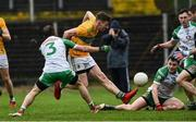 3 March 2019; SHane Quinn of Leitrim scoring his side's first goal during the first half of the Allianz Football League Division 4 Round 5 match between Leitrim and London at Avantcard Páirc Seán Mac Diarmada in Carrick-on-Shannon, Co. Leitrim. Photo by Oliver McVeigh/Sportsfile
