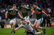 3 March 2019; Conor McCarthy of Monaghan in action against Kerry players, from left, Peter Crowley, Kevin McCarthy and Gavin Crowley during the Allianz Football League Division 1 Round 5 match between Kerry and Monaghan at Fitzgerald Stadium in Killarney, Kerry. Photo by Brendan Moran/Sportsfile