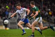 3 March 2019; Conor McCarthy of Monaghan in action against Gavin Crowley of Kerry during the Allianz Football League Division 1 Round 5 match between Kerry and Monaghan at Fitzgerald Stadium in Killarney, Kerry. Photo by Brendan Moran/Sportsfile