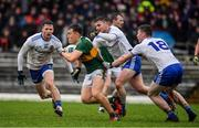 3 March 2019; Dara Moynihan of Kerry in action against Monaghan players Dessie Mone, Dermot Malone and Colm Lennon during the Allianz Football League Division 1 Round 5 match between Kerry and Monaghan at Fitzgerald Stadium in Killarney, Kerry. Photo by Brendan Moran/Sportsfile