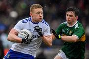 3 March 2019; Colin Walshe of Monaghan in action against Paul Murphy of Kerry during the Allianz Football League Division 1 Round 5 match between Kerry and Monaghan at Fitzgerald Stadium in Killarney, Kerry. Photo by Brendan Moran/Sportsfile