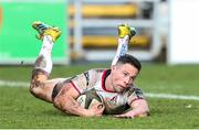3 March 2019; John Cooney of Ulster dives over to score his side's third try during the Guinness PRO14 Round 17 match between Dragons and Ulster at Rodney Parade in Newport, Wales. Photo by Gareth Everett/Sportsfile