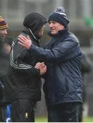 3 March 2019; Clare joint manager Gerry O'Connor and Limerick manager John Kiely exchange a handshake after the Allianz Hurling League Division 1A Round 5 match between Clare and Limerick at Cusack Park in Ennis, Co. Clare. Photo by Diarmuid Greene/Sportsfile