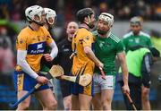 3 March 2019; Cian Lynch of Limerick and Jack Browne of Clare share a laugh as they tussle off the ball during the Allianz Hurling League Division 1A Round 5 match between Clare and Limerick at Cusack Park in Ennis, Co. Clare. Photo by Diarmuid Greene/Sportsfile