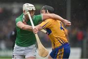 3 March 2019; Kyle Hayes of Limerick in action against Jack Browne of Clare during the Allianz Hurling League Division 1A Round 5 match between Clare and Limerick at Cusack Park in Ennis, Co. Clare. Photo by Diarmuid Greene/Sportsfile