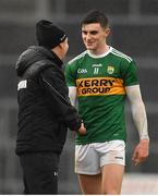 3 March 2019; Kerry manager Peter Keane, left, shakes hands with Sean O'Shea of Kerry after the Allianz Football League Division 1 Round 5 match between Kerry and Monaghan at Fitzgerald Stadium in Killarney, Kerry. Photo by Brendan Moran/Sportsfile