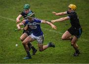 3 March 2019; Paddy Purcell of Laois is tackled by Dáire Gray, 4, and James Madden of Dublin during the Allianz Hurling League Division 1B Round 5 match between Dublin and Laois at Parnell Park in Dublin. Photo by Ray McManus/Sportsfile