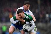 3 March 2019; Tomás Ó Sé of Kerry is tackled by Dessie Mone of Monaghan during the Allianz Football League Division 1 Round 5 match between Kerry and Monaghan at Fitzgerald Stadium in Killarney, Kerry. Photo by Brendan Moran/Sportsfile