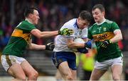 3 March 2019; Karl O'Connell of Monaghan is tackled by Gavin O'Brien, left, and Tom O'Sullivan of Kerry during the Allianz Football League Division 1 Round 5 match between Kerry and Monaghan at Fitzgerald Stadium in Killarney, Kerry. Photo by Brendan Moran/Sportsfile